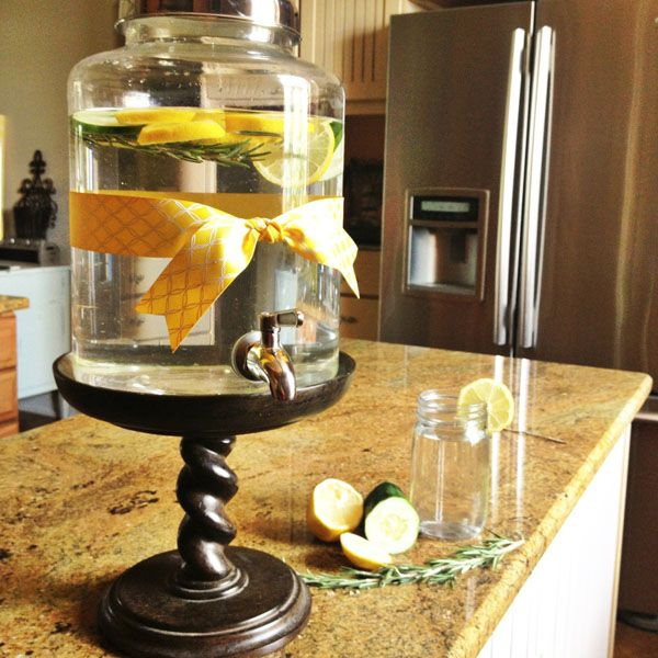This is such a great idea! Keep a pretty water dispenser on your kitchen counter to encourage your family and yourself to drink more water. Lots of ideas for adding herbs, citrus, etc. to your water too. #spawater #infusedwater