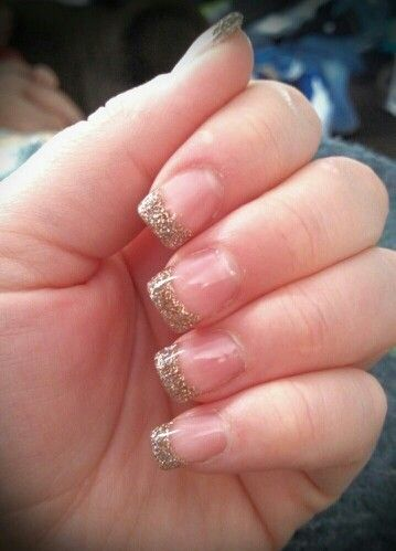 Champagne gold sparkle acrylic nails w gel coating. Perfect for holidays!