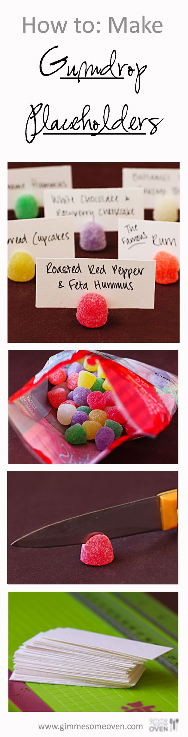 GREAT PARTY TRICK (gummy place holders) How To: Make Gumdrop Placeholders | gimmesomeoven.com