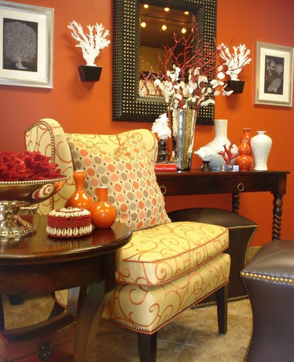 Why You Should Change Your Décor with the Seasons: Wall Colors, Warm Colors, Living Rooms Design, Burnt Orange, Paintings Colors, Orange Rooms, Contemporary Living Rooms, Orange Wall, Accent Wall