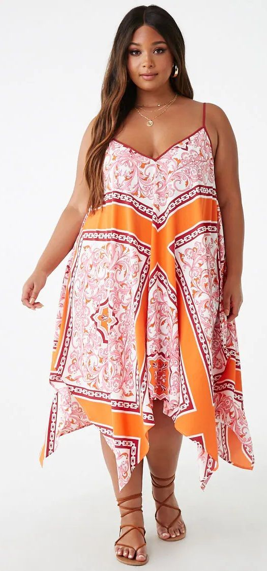Plus Size Baroque Print Dress