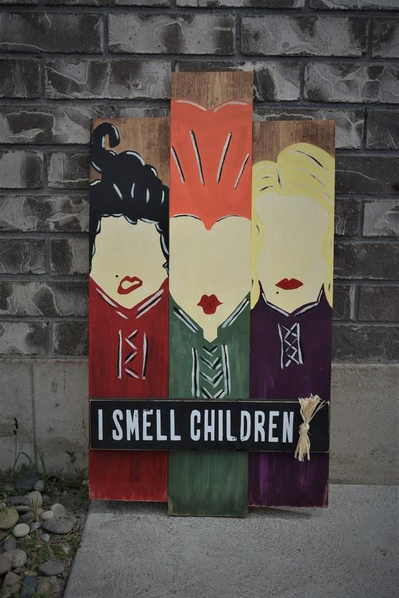 Hocus Pocus Sign, I Smell Children Sign, Halloween DIY Kit, DIY Wood Kit, Rustic decor,  Halloween d