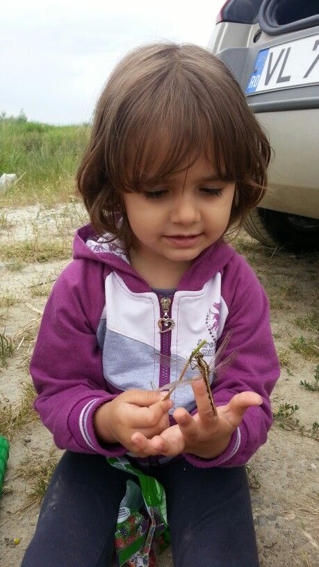 Alexandra playing with a dragonfly.  We named him George :)