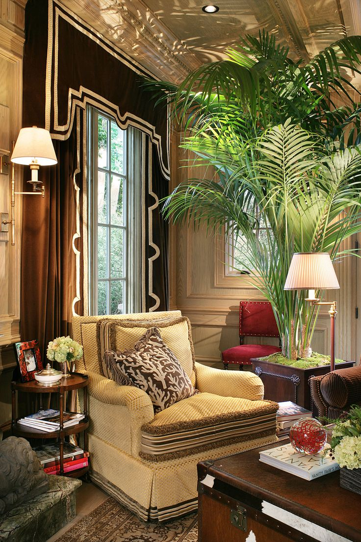 Pictures of window treatments - The Black Window Treatment Is Striking Because Of The Art Deco Design And The Large Fern Adds Drama This Would So Be My Den If I Lived In Florida