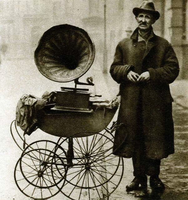 Street gramophone player....