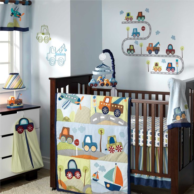 car baby crib bedding set and white dresser and soft blue wall color in boy nursery - Baby Boys Room Ideas