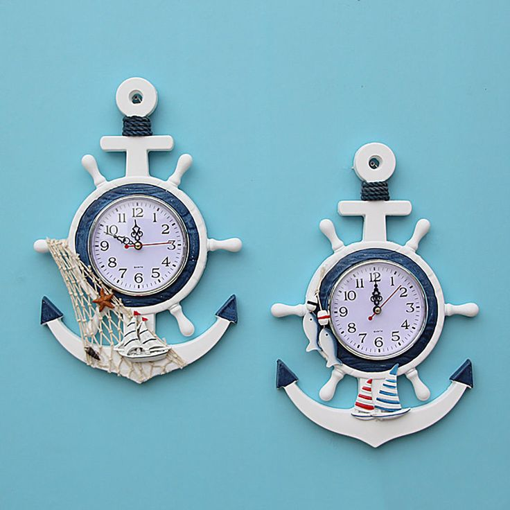 Kid's Room Wooden Decor Anchor Hanging Wall Clock Nautical Mediterranean Style in Home & Garden, Home Décor, Clocks | eBay