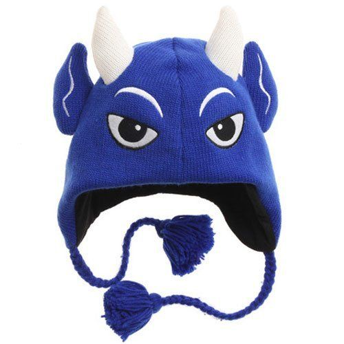 d99695da726 NCAA Duke Blue Devils Mascot Knit Beanie by Football Fanatics.  24.95.  Quality embroidery. One size fits most. Ear flaps with hanging braided ta…
