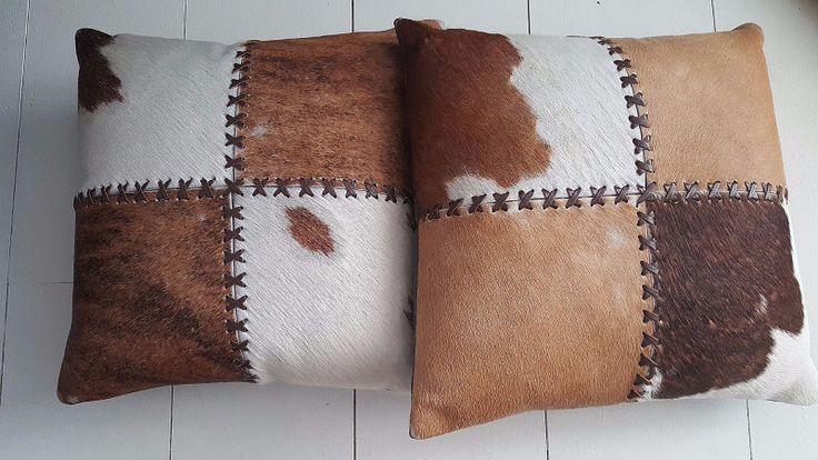 Cowhide Pillows Leather Calf Fur Western Pillowcase Cover Brown Rustic Decor #Unbranded #Farmhouse