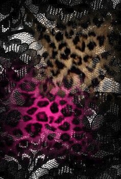 Pink and brown leopard print lace wallpaper