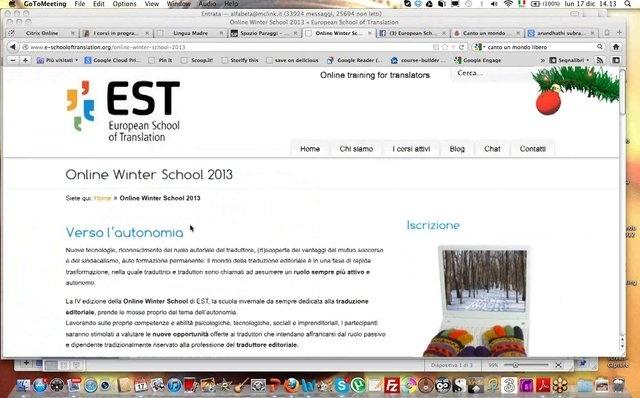 Puntata natalizia del 17 dicembre 2012: presentazione della Online Winter School 2013