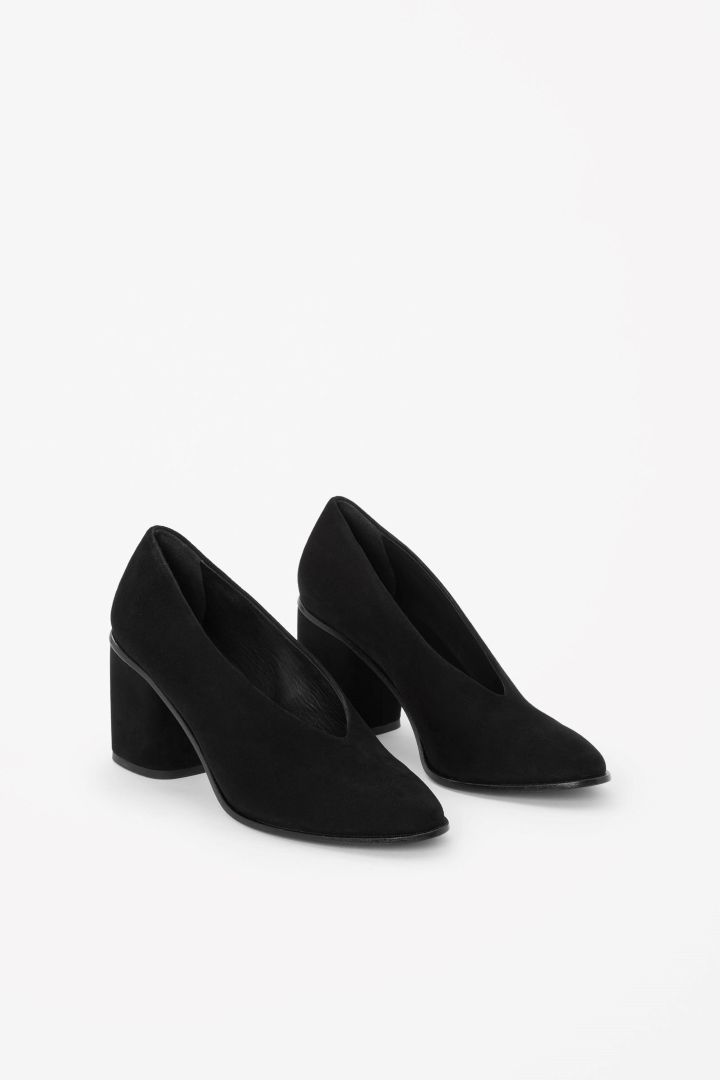 COS image 2 of Chunky heel suede pumps in Black