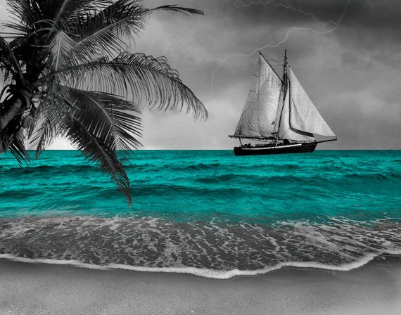 Black White Teal Wall Art Photography Coastal Sailboat