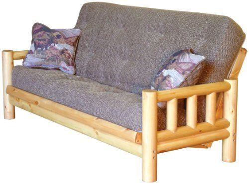 """Tahoe Rustic Full Futon with TDC Mattress, ROCKY MOUNTAIN by BIG TREE. $599.99. Tahoe Rustic Futon brings casual elegance to your home! Looking for a lodge look at home? Give your home a resort-like feel with this sturdy futon featuring solid pine construction, lodge pole design, and rustic finish. Converts to full size sleeper bed with supportive 13 gauge innerspring mattress. 38"""" d. x 36"""" w. x 40"""" h. Ships in 3 boxes: (1) 75 1/2"""" x 7"""" x 31 1/4"""", 85 lbs.; (2) 33 1/2"""" x 8"""" x 25..."""