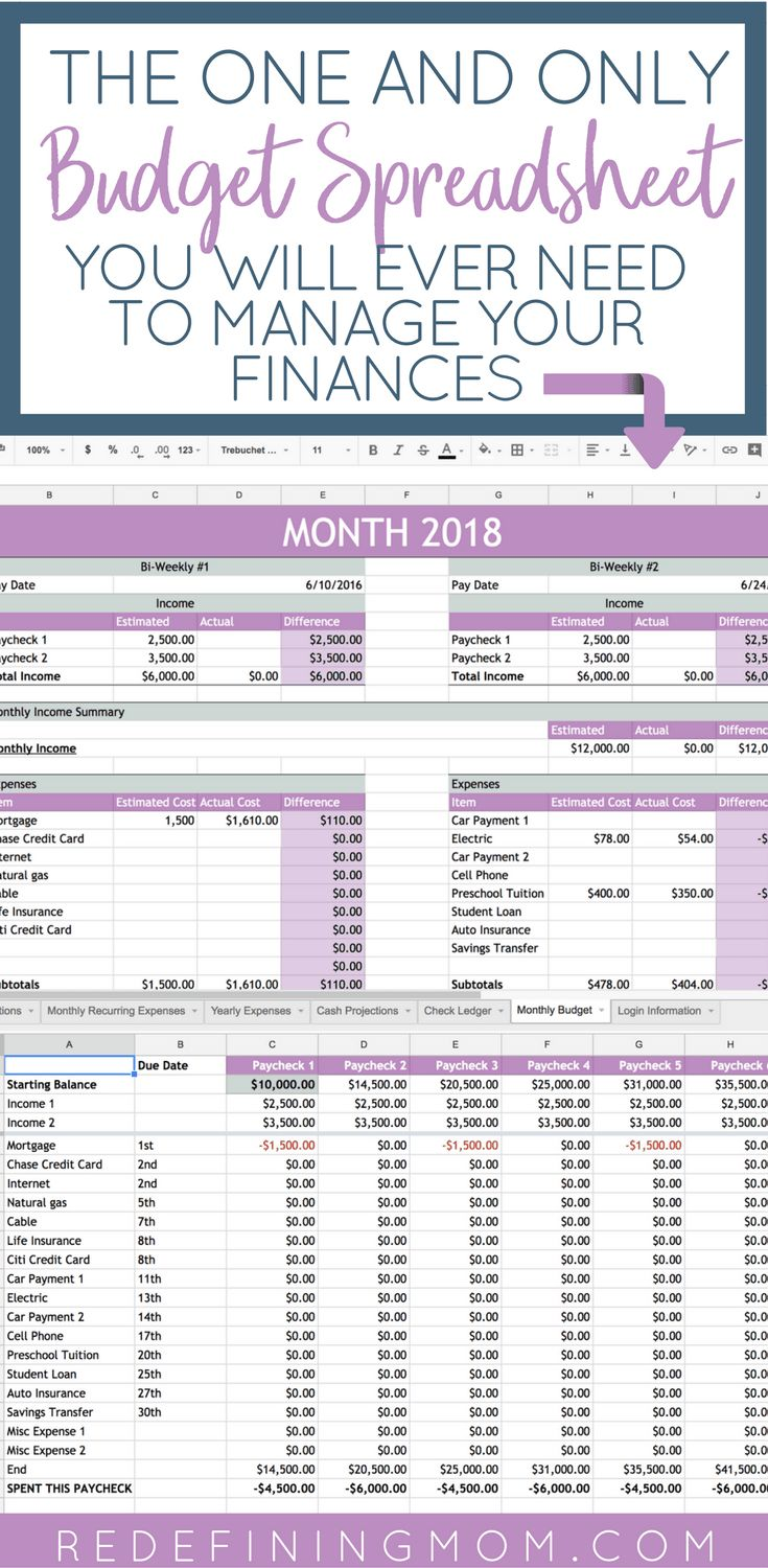 Easy Budget and Financial Planning Spreadsheet for Busy Families / How to make a budget/ Excel budgeting spreadsheet / monthly budgeting / budgeting for beginners / budgeting tips / financial planning for beginners @redefinemom