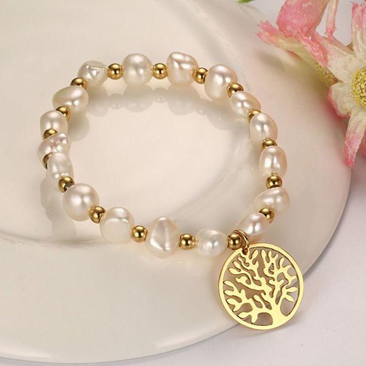 Freshwater Pearl Tree of Life Bracelet