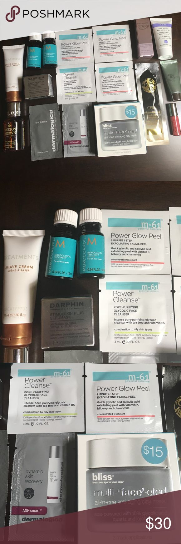 High End Treatments from Bluemercury *NEW UNUSED* Products are all NEW and UNUSED and from Bluemercury.  **All items are FRESH from July - Nov 2016!!!! Includes: Treatments Shave Cream, Moroccanoil (quantity 2), m-61 Power Glow Peel (quantity 3), m-61 Power Cleanse, Darphin Stimulskin Plus Serumask, Este Lauder Genuine Glow Priming Moisture Balm, REN, ReVive Clay Mask, Oribe Imperial Blowout, Bliss multi-face-eted clay mask, Smith & Cult (the lovers), Dermalogica precleanse and dynamic skin…