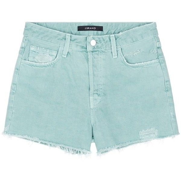 J Brand 'Gracie' high rise distressed denim shorts ($168) ❤ liked on Polyvore featuring shorts, green, distressed denim shorts, green shorts, ripped shorts, high waisted cuffed shorts and high-rise shorts