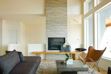 12x24 Alba Grigio tile - Fireplace: Modern Fireplaces, Sunterra Custom, Modern Living Rooms, Fireplaces Tile, Fireplaces Design, Custom Homes, Design Ideas, Window Shades, Photo