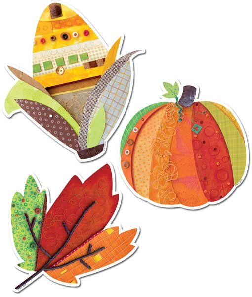 Autumn Harvest Designer Cut-Outs by Creative Teaching Press. 12 each of 3 designs. Perfect for accenting displays and calendars, notes, labels, art projects, and more! You can find these and other coordinating products at The Pointless Pencil.