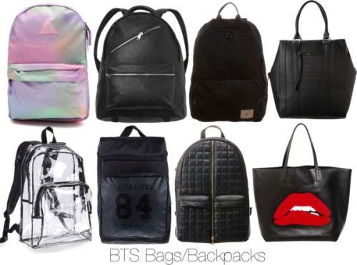 Untitled #1047 by aracelymejiax featuring a neff backpack  RED Valentino red leather handbag / BCBGeneration tote bag / Neff backpack / Monki punk backpack, $54 / O Neill black bag, $67 / Adidas Originals vegan bag, $37 / Black bag / Crystal clear bag