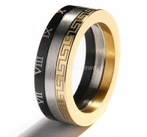 [Visit to Buy] Stainless Steel Gold Roman Symbol Mens Ring Size 7-11   R022 #Advertisement