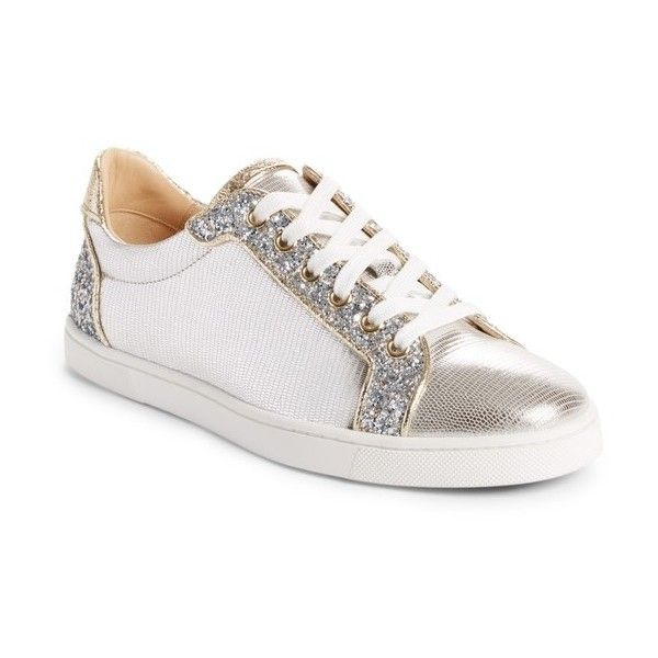 Women's Christian Louboutin Seava Embellished Lizardskin Embossed... ($795) ❤ liked on Polyvore featuring shoes, sneakers, silver, christian louboutin trainers, embellished sneakers, embossed shoes, christian louboutin sneakers and silver trainers