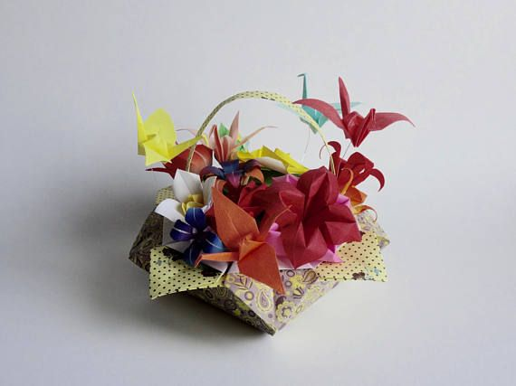 Pretty Origami Paper Flower Basket Unique Birthday Gift