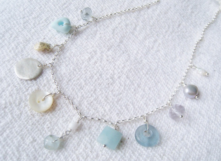 Etsy Transaction - Beachcomber necklace with antique seaglass, 1930s button, handmade silver & vintage pearl, silverpebble