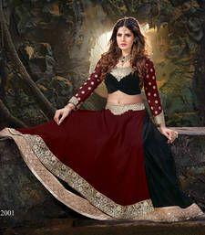 Buy Maroon silk embroidered  lehenga-choli lehenga-choli online