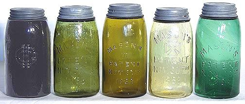 antique mason jars 1858 | colored Masons 1858 fruit jars