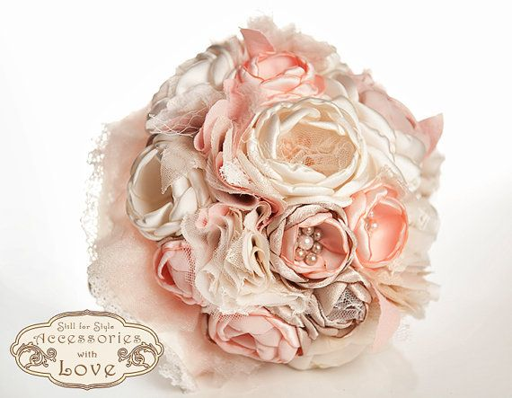 Spring pink Fabric flower Bouquet, Shabby Chic wedding Bouquet, wedding bouquet and groom boutonniere, Cabbage Roses Bouquet  #wedding #brideaccessories #weddingbouquet