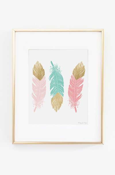 Feather Art Print Gold Glitter