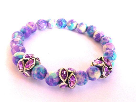 Flower Jasper Stretch Bracelet/ Beaded Bracelet by MACRANI on Etsy
