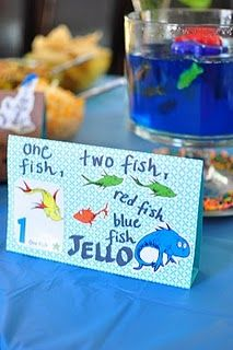 One Fish, Two Fish, Red Fish, Blue Fish Jell-O Treat!Classroom Theme, Food And Drink, Baby Shower Ideas, Parties Ideas, Red Fish, Dr. Seuss, Drinks Ideas, Dr. Suess Baby Shower, Blue Fish