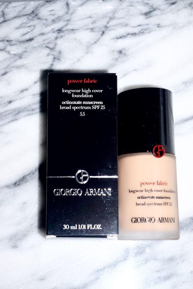$49.95 Giorgio Armani Beauty Power Fabric Longwear High Cover Foundation Shade: 5.5 New #GiorgioArmani