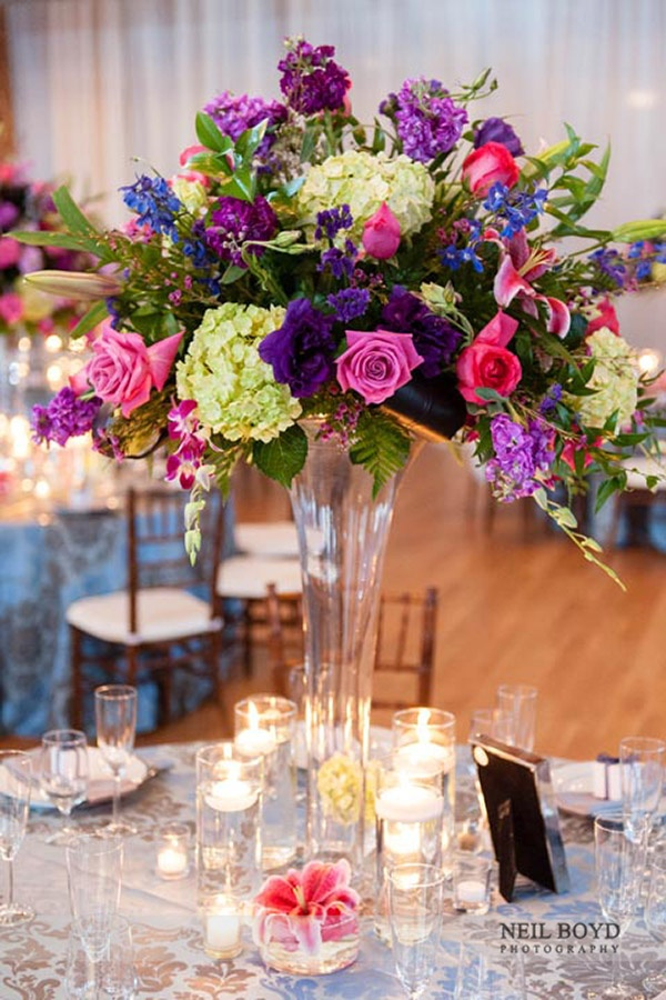 Tall floral centerpiece arrangement for wedding reception for Pink and blue flower arrangements