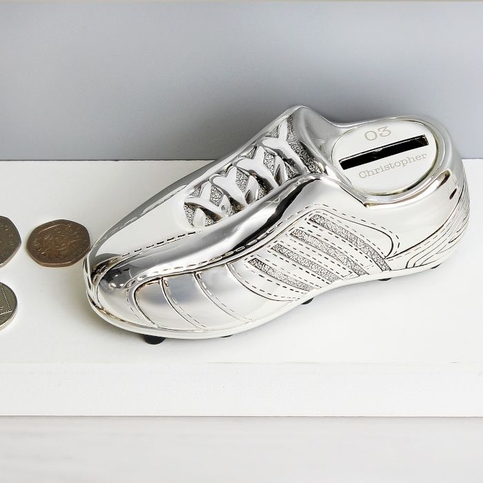 Personalised Silver Plated Football Boot Money Box Engraved Christening Gift