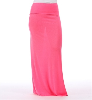 bright neon pink maxi skirt needs a slip but great color