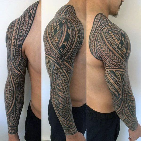 Manly Polynesian Male Tribal Sleeve Tattoos #polynesiantattoos