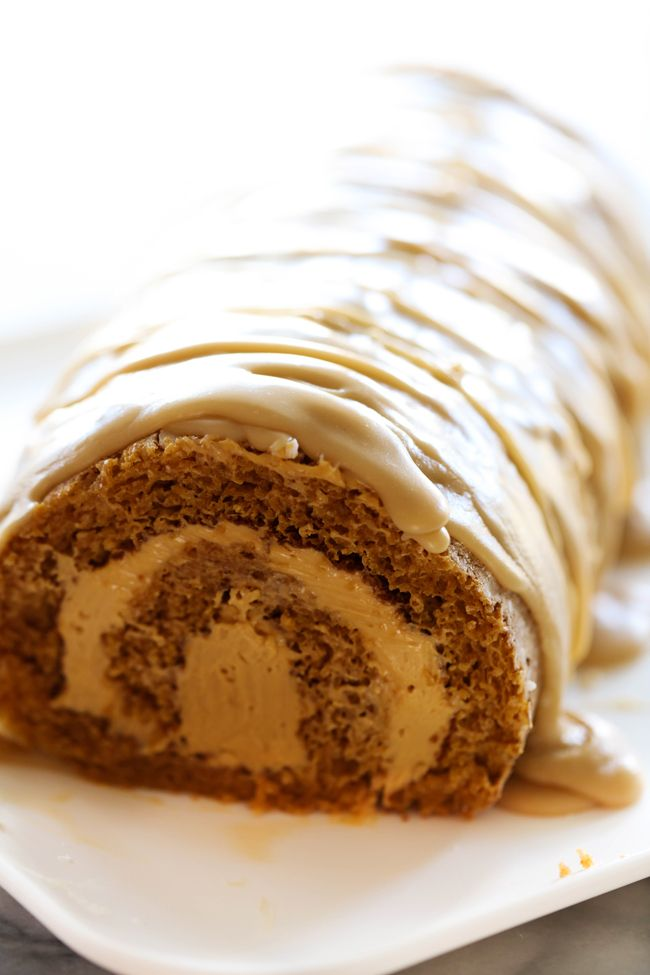 This Caramel Pumpkin Cake Roll is such a moist and delicious cake with a rich caramel cream cheese filling. It is topped with an incredible caramel frosting that is the perfect finishing touch!!
