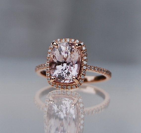 4.58ct Cushion ice peach champagne sapphire 14k rose gold diamond ring