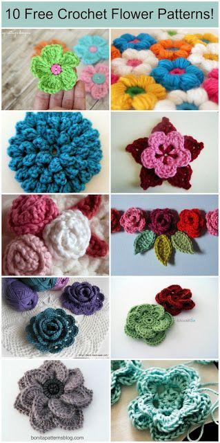 10 Free Crochet Flower Patterns                                                                                                                                                                                 Más