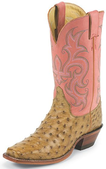 Justin Women's 11 Inch Antique Tan Vintage Full Quill Ostrich Cowgirl Boots