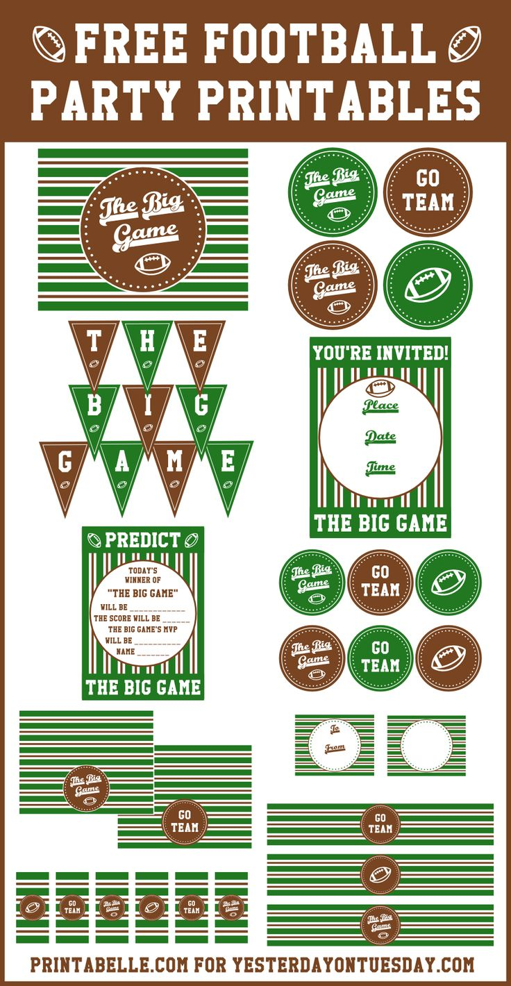 Get set for football season with this set of free Football Party Printables! football | printables