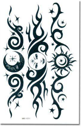 Tribal Sun Lower Back Temporary Tattoo BeWild. $2.99