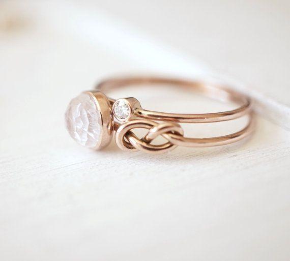 Mondstein Ring Infinity-Knoten-Ring Verlobungsring von Luxuring