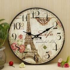 Zakka rustique horloge murale tour eiffel millésime bureau de la maison de mur Cafe Bar décoration cadeau art 30cm minable