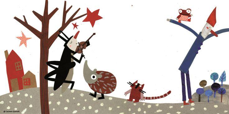 """Ilustración de Carmen Queralt para el poema de Alex Nogués """"Un tipo muy flaco"""" incluido en el libro """"Pequeño buzo somnoliento"""" www.porkepik.net"""