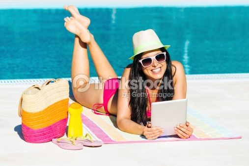 Stock Photo : Woman on summer with digital tablet